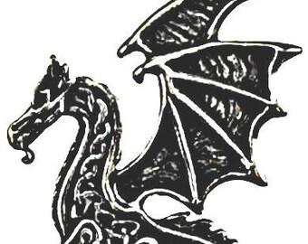 Old World Style Renaissance Dragon Pendant Amulet Necklace Genuine Pewter casting