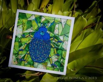 Blank Greeting Card - Hulali beetle mosaic