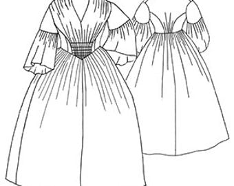 Truly Victorian Ladies 1856 Gathered Dress Costume Sewing Pattern TV456, 15% OFF!!!