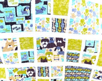 Adorable Handmade Baby Quilt, baby boy quilt, baby girl quilt, puppies quilt colorful baby quilt