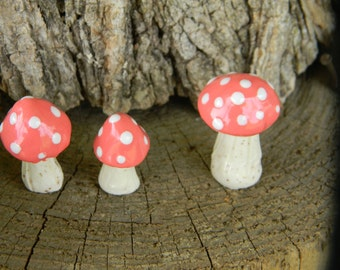 3 ceramic mushroom miniatures 3 Pink Coral   Poison.. ..  terrarium or miniature gardens