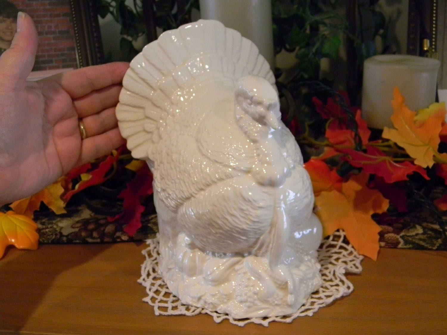Turkey centerpiece large table top handmade white glazed