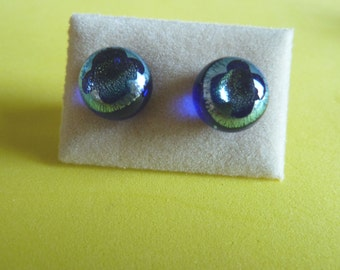 Dichroic Glass Stud Earrings Surgical Steel Hypoallergenic Blue & Silver Cross Handmade 'not just for Easter'