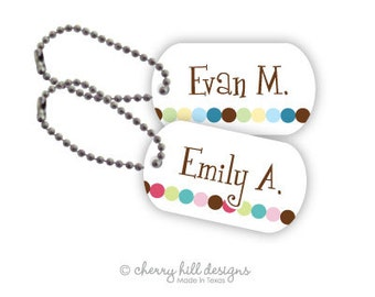 DOT DOT Pink or Blue Mini lunchbox tags - set of 2
