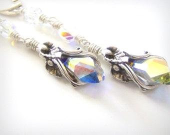 Handmade Earrings Swarovski Crystals Sterling Silver