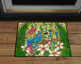 "Parrot Paradise 18"" x 24"" Door Mat, Floor Mat, Home Decor"
