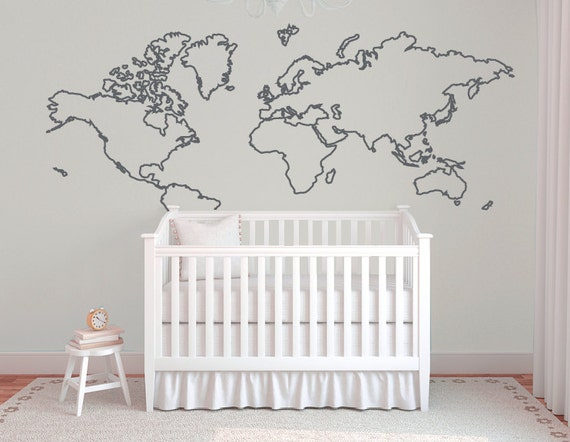Large World Map Decal Large World Map Outline Wall
