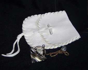 Leather Pendulum Pouch...WHITE... Smooth