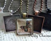 20 Pendant Trays 1 Inch Square Bezel Blanks Mix and Match Colors Silver, Antique Bronze, Antique Copper, Black 25 mm