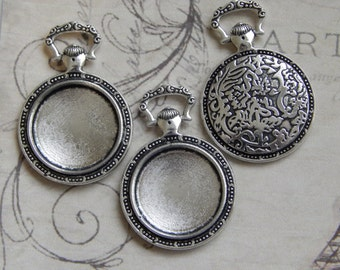 10 Adorable Pocket Watch Style Pendant Trays / Bezel Settings 20mm Antique Silver for Photo Pendants