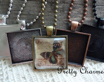 20 Pendant Trays 1 Inch Square Bezel Blanks Mix and Match Colors Silver, Antique Bronze, Antique Copper, Black 25 mm