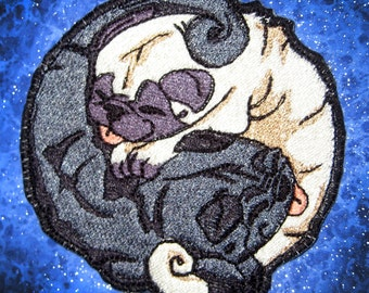 Black and Fawn Pug Yin Yang Iron on Patch