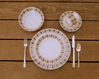 MCM Vintage Dinnerware for 4 or 8: Plaid 'Highlander' Pattern 3909, Harmony House MidCentury Japanese Porcelain