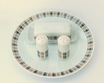 Plaid MCM Salt & Pepper Shakers, Butter Dish: 'Highlander', Harmony House 3909, Japanese Porcelain Tableware