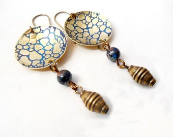 Pebbled Brass Domed Dangle and Drop Earrings, Blue Patina, Blue Jasper Beads, Brass Drops