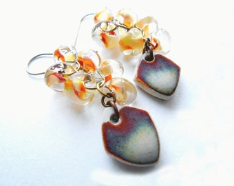 Natural Ceramic and Lampwork Glass Dangle and Drop Cluster Earrings, Spring Fashion, Rust, Sand, Neutral, Rustic Jewelry