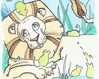 """3"""" x 3"""" Wizard of Oz Art Card - Lion"""