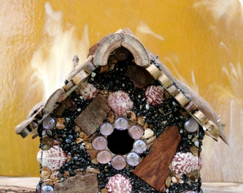 Hanging Outdoor Stone Birdhouse with Driftwood Functional Yard Art