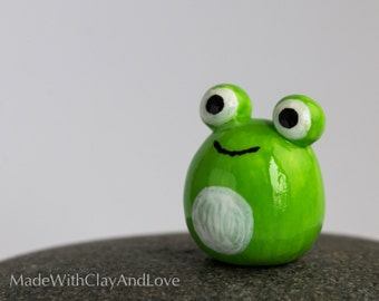 Little Frog - Terrarium Figurine Miniature Polymer Clay Animal - Hand Sculpted