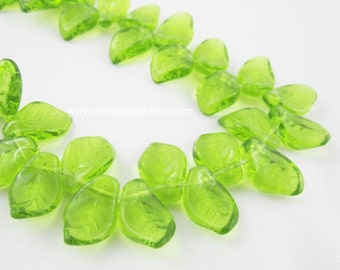 Bead, Czech Pressed Glass, Olivine, 14x9mm Top-Drilled Leaf
