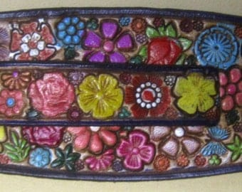 IPod Nano  Leather Watch Band or Wrist Band Cuff with Flower Garden  Butterflies and Purple Border Made in GA USA