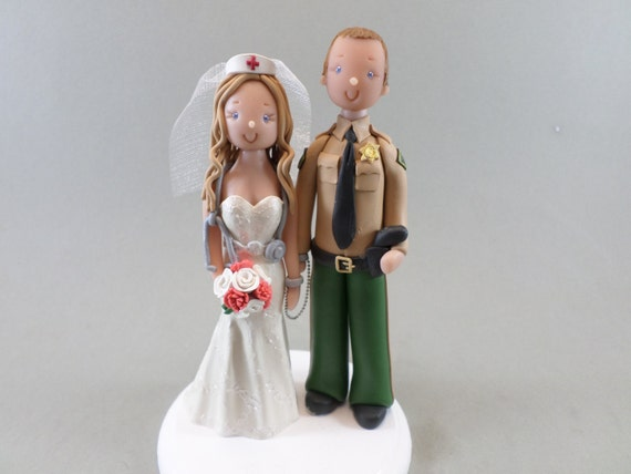 police officer and nurse wedding cake topper unique cake toppers officer amp custom wedding 18671