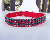 Christmas/Holiday Swarovski Crystal Rhinestone Dog Collar - 4 Row Red/Green on Red - 14 Inch Westie Size