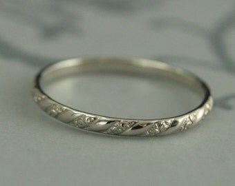 thin white gold band versailles pattern band womens white gold wedding ring - Wedding Ring Bands