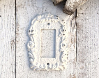 Metal Wall Decor, Light Switch Cover, Creamy Off White, Rocker Switch Plate, Ornate, New House, STYLE 111