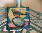 FAITH - Birdy Inspiration Canvas an original mixed media painting watercolors acrylic ephemera bird  nursery eggs french script textured
