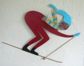 Metal Wall Sculpture Skier Art Down Hill Skier Recycled Metal Wall Decor Bright Red Blue Winter Sports Wall Art 12 x 15