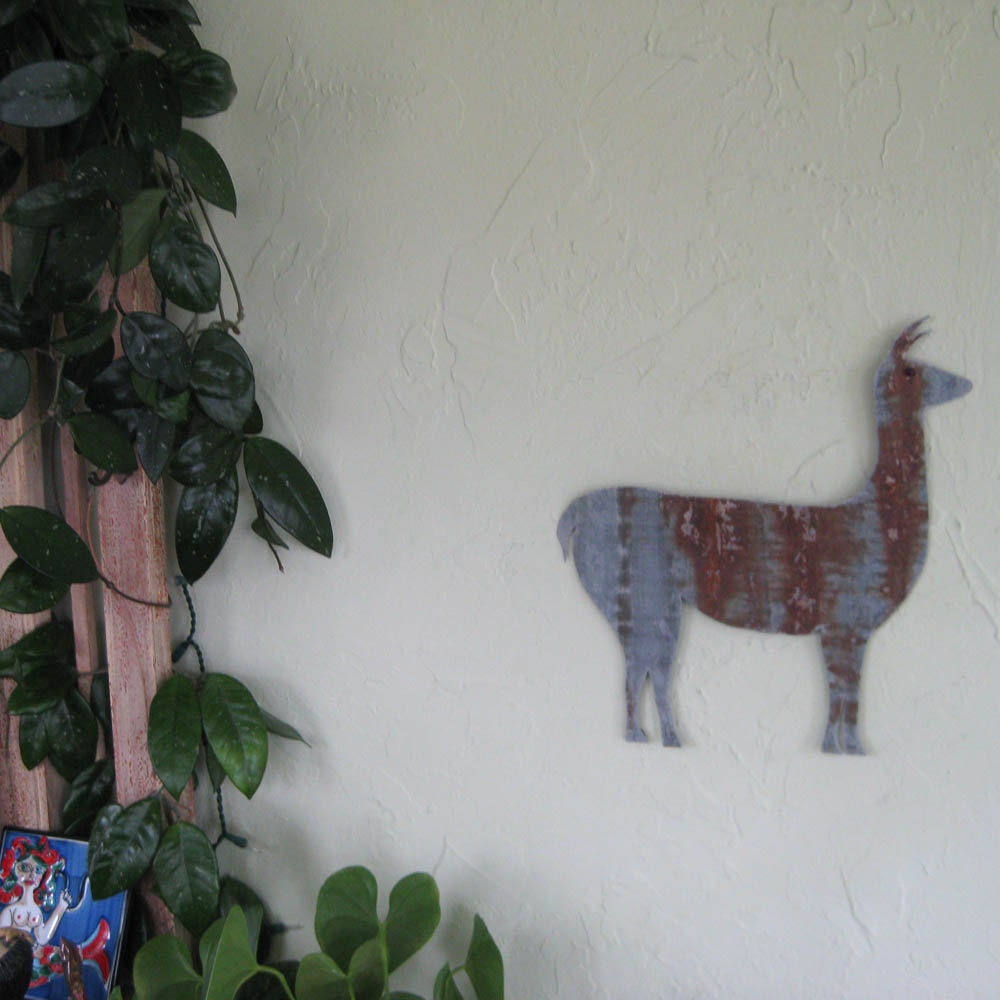 Metal Wall Decor Animals : Art metal wall sculpture llama farm animal by