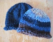 Twin set - navy and multi shade roll rim beanies - newborn - SPECAIL PRICE - ready to ship - hand knit - newborn photo prop