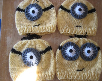 Minion hats - all sizes - babies kids teens adults - create your own - despicable me - one two eyes