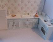 Dollhouse kitchen, pale blue kitchen, miniature kitchen,kitchen,  twelfth  scale. hand painted,  dollshouse miniature