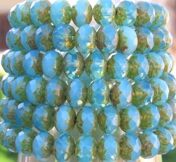 il 570xN.734625904 qbuc 8x6mm Faceted Aqua Opalite Picasso Firepolish Czech Glass Rondel Beads   Qty 25 (BS130) by beadsandbabble