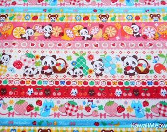 """Scrap - Striped Pattern Pandas Animals Fruit on White - 108cm/42.5""""W x 54cm/21""""L - (ha141107)"""