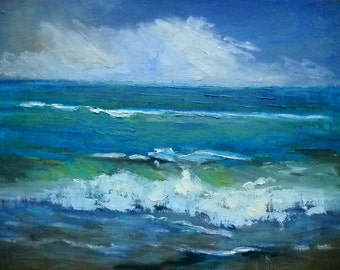 "Seascape Oil Painting, Daily Painting, Small Oil Painting, ""Offshore Storm"" by Carol Schiff, 9x12"" Oil"