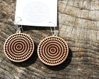 Wood Earrings- Hypnotic Mandala Wooden Earrings in Juniper