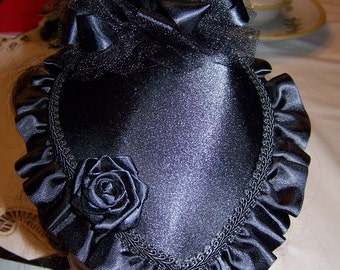Steam Puck Ladies Black hat, or Purple, Brown,Green, Red, Navy Blue or White Satin Victorian Civil War Hat teardrop