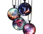 Nebula //Planet Necklace Solar System Jewelry//Astronomy//Space Necklace - Omega, Unicorn's Rose, Cosmic Cloud, Small Magellanic Cloud