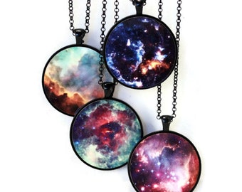 Nebula Necklace Science Jewelry - Astronomy - Omega, Unicorn's Rose, Cosmic Cloud, Small Magellanic Cloud