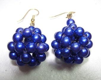 Vintage blue cluster pierced earrings
