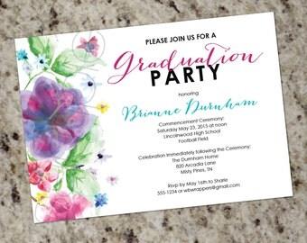 Elegant Watercolor Florals Flower Gradution Invitations or Announcements - Printable Design DIY
