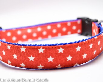 Lucky Star Orange Dog Collar / Custom Dog Collar / 3 Pooches