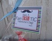 Mustache Valentine's Day Tags / Mustache Gift Tag / Striped gift tag /  Set of 12 Tags, 12 Stickers or PDF File