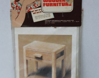 Vintage BED TABLE Miniature Wooden Furniture kit by KITSET New in Package