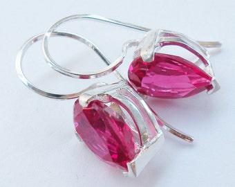 Red Ruby Earrings, Pear Shaped Ruby, Tear Drop Ruby, Lab Created Ruby, Big Bold Ruby, Breast Cancer Pink, Fuchsia Red Ruby, Big Gem Earrings