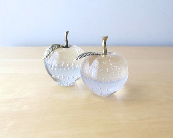 glass apple paperweight controlled bubble brass leaf