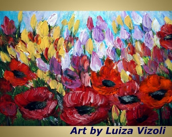 Original Abstract OIl Modern Impressionist SPRING MEADOW FLOWERS Palette Impasto Poppies Tulips Spring Floral Painting by Luiza Vizoli